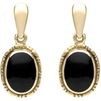 9ct Yellow Gold Whitby Jet Oval Rope Edge Drop Earrings