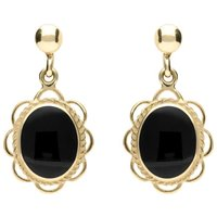 9ct Yellow Gold Whitby Jet Large Oval Rope Frill Drop Earrings
