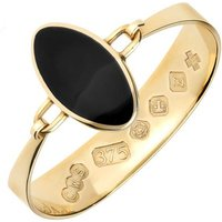 9ct Yellow Gold Whitby Jet Oval Stone Heavy Bangle