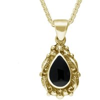 9ct Yellow Gold Whitby Jet Pear Shaped Leaf Drop Necklace