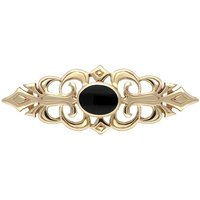 9ct Yellow Gold Whitby Jet Pierced Bar Brooch
