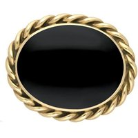 9ct Yellow Gold Whitby Jet Rope Twist Edge Large Brooch