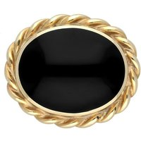 9ct Yellow Gold Whitby Jet Rope Twist Edge Small Brooch