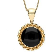 9ct Yellow Gold Whitby Jet Round Rope Twist Necklace