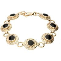 9ct Yellow Gold Whitby Jet Round Celtic Link Bracelet