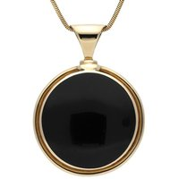 9ct Yellow Gold Whitby Jet Round Heavy Necklace