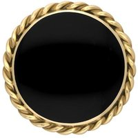 9ct Yellow Gold Whitby Jet Round Rope Edge Brooch
