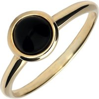 9ct Yellow Gold Whitby Jet Round Stacking Ring