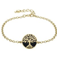 9ct Yellow Gold Whitby Jet Round Tree of Life Chain Bracelet