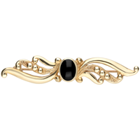 9ct Yellow Gold Whitby Jet Scroll Bead Brooch