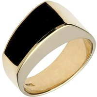 9ct Yellow Gold Whitby Jet Tapered Band Ring