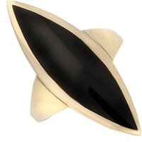 9ct Yellow Gold Whitby Jet Toscana Long Marquise Shaped Ring