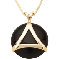 9ct Yellow Gold Whitby Jet Triangle Disc Necklace