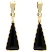 9ct Yellow Gold Whitby Jet Triangle Drop Earrings