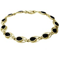 9ct Yellow Gold Whitby Jet Celtic Twelve Stone Pear Bracelet