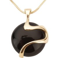 9ct Yellow Gold Whitby Jet Wavy Round Disc Necklace