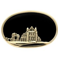 9ct Yellow Gold Whitby Jet Whitby Abbey Brooch