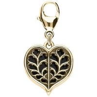 9ct Yellow Gold Whitby Jet York Minster Heart Charm