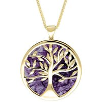 9ct Yellow Gold Blue John Large Round Tree of Life Necklace