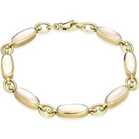 9ct Yellow Gold Pink Mother of Pearl Oval Linked Bracelet