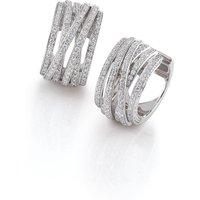 Al Coro Mezzaluna 18ct White Gold 1.74ct Diamond Hoop Earrings