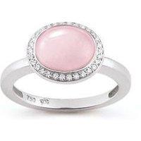 Al Coro Amici 18ct White Gold Pink Quartz Diamond Oval Ring
