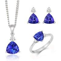 18ct White Gold Tanzanite Diamond Three Piece Gift Set