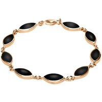 9ct Rose Gold Whitby Jet Marquise Bracelet