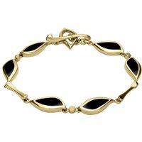 9ct Yellow Gold Whitby Jet Six Stone Leaf Bracelet