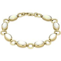 9ct Yellow Gold White Mother of Pearl Eight Stone Round Ring Bracelet