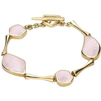 9ct Yellow Gold Pink Mother of Pearl Four Stone Concave Pentagon T Bar Bracelet