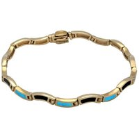9ct Yellow Gold Whitby Jet Turquoise Eighteen Stone Wavy Link Bracelet