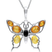 Sterling Silver Whitby Jet Amber Butterfly Necklace