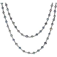 Sterling Silver Black Pearl Bead Chain Link Necklace
