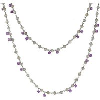 Sterling Silver Labradorite Amethyst 4mm Bead Chain Link Necklace