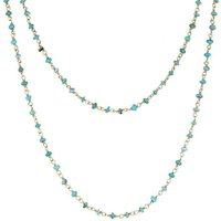 Yellow Gold Plate Turquoise 3mm Bead Chain Link Necklace