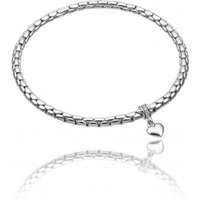 Chimento Stretch Charm 18ct White Gold Diamond Heart Charm Bracelet