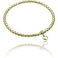 Chimento Stretch Charm 18ct Yellow Gold Diamond Heart Charm Bracelet