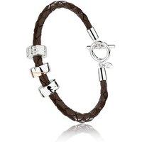 Clogau Sterling Silver Leather Triple Charm Mens Bracelet