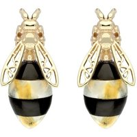 9ct Yellow Gold Whitby Jet Amber Bee Stud Earrings
