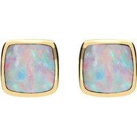 9ct Yellow Gold Opal Dinky Cushion Stud Earrings