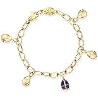 Faberge Victor Mayer 18ct Yellow Gold Diamond Blue Enamel Charm Bracelet