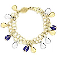 Faberge Victor Mayer 18ct Yellow Gold Royal Blue Enamel Double Egg Chain Bracelet