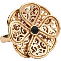 9ct Yellow Gold Whitby Jet Flore Eight Petal Flower Ring