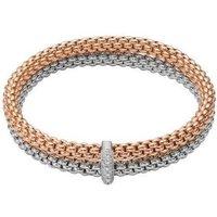 Fope Flexit Solo 18ct White Rose Gold 0.22ct Diamond Double Bracelet