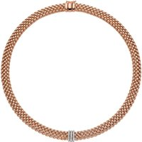 Fope Panorama 18ct Rose Gold 0.23ct Diamond Rondelle Necklace