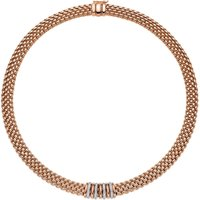 Fope Panorama 18ct Rose Gold 0.30ct Diamond Rondelle Necklace