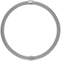 Fope Panorama 18ct White Gold 0.08ct Diamond Rose Gold Rondelle Necklace