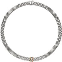 Fope Panorama 18ct White Gold Mixed Rondelle Necklace