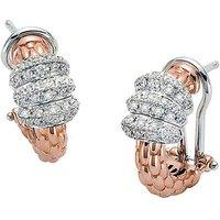 Fope Solo 18ct Rose Gold 0.61ct Diamond Hoop Earrings